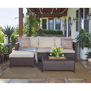 Handy Living Azura 5-Pc. Outdoor Sectional and Table with Ottoman