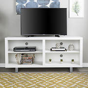 "W. Trends 58"" Simple Modern TV Console - White"