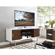 "W. Trends Manhattan 60"" Wood TV Console with Sliding Doors - White/Wal"