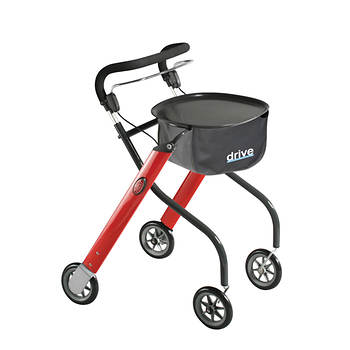 Drive Medical Let's Go Indoor Walker Rollator - Red