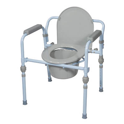 Drive Medical Folding Bedside Commode with Commode Bucket and Splash Guard