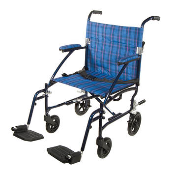 Drive Medical Fly Lite Ultra Lightweight Aluminum Transport Chair - Blue