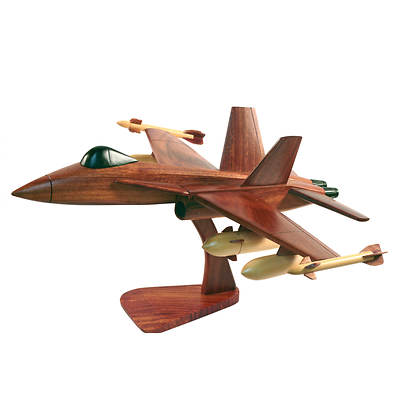 Handmade Wooden Collectible Model F18 Fighter Jet