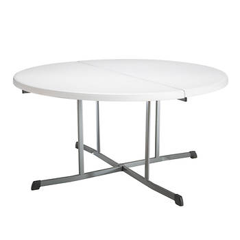 "Lifetime 60"" Fold-in-Half Round Table - White"