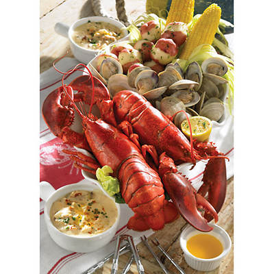 Lobster Gram Maine Lobsters, 2 Count, Little Neck Clams, New England Clam Chowder, Potatoes, Cracker Kits and Butter
