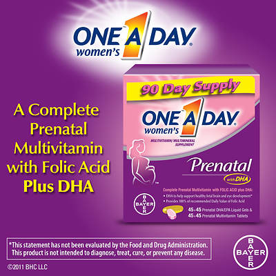 One A Day Women's Prenatal Multivitamin Supplement with Folic Acid Plus DHA - 90-Day Supply