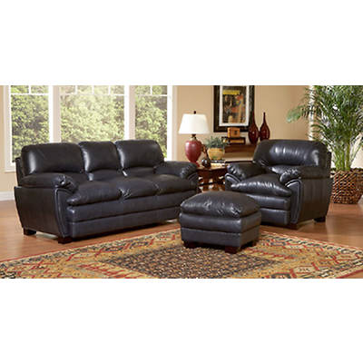 Leather Italia Florida 3-Piece Living Room Set - Navy