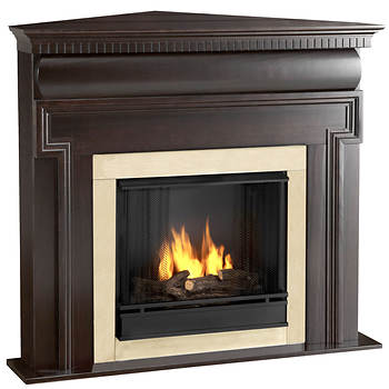Real Flame Mt. Vernon Corner Gel Fuel Fireplace - Dark Walnut