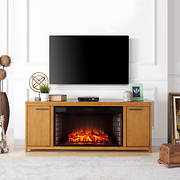 SEI Lidalle Electric Fireplace TV Stand - Weathered Gray Oak