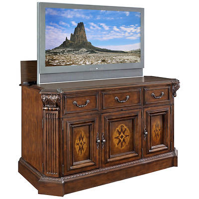 Willowcraft TV Lift Cabinet with Motorized Lift - Antique Brown