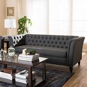 Baxton Studio Prima 3-Seater Sofa - Gray