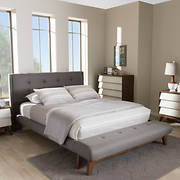 Baxton Studio Reena Full-Size Bed and Bench Set - Gray