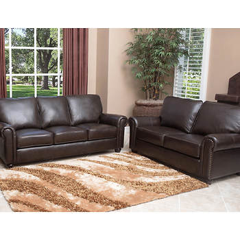 Abbyson Living Bedford 2-Pc. Top-Grain Italian Leather Sofa/Loveseat Set - Dark Brown
