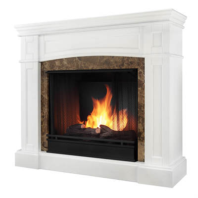Real Flame Bentley Ventless Gel Fuel Fireplace - White