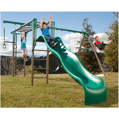 Lifetime Monkey Bars Adventure Heavy-Duty Metal Swing Set with Fire Pole