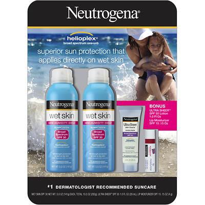 Neutrogena Wet Skin SPF 30 Sunblock, 2-Pk with Travel-Size Tube