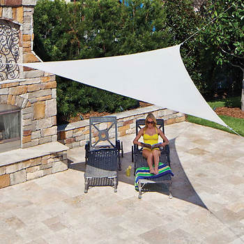 "Coolaroo 11'10"" Triangle Ready-to-Hang Shade Sail - Pebble"