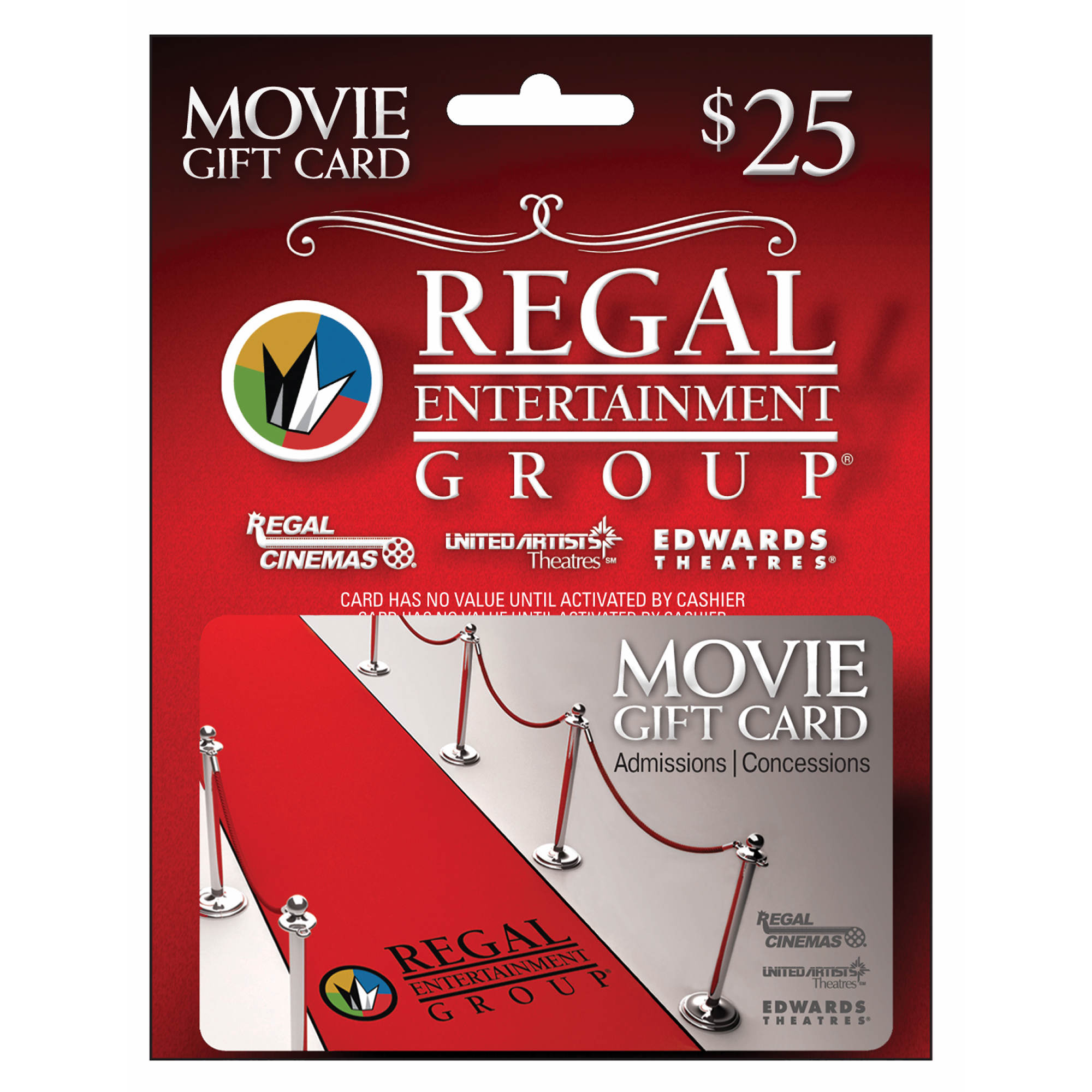 Contains 2 plastic gift cards in your choice of design. Two great gifts! One great night! Regal gift cards are good towards admissions and concessions.
