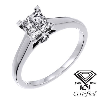 .50 ct. t.w. Princess-Cut and Round Diamond Engagement Ring in 14K White Gold