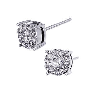 .50 ct. t.w. Multi-Stone Diamond Studs in 14K White Gold