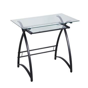 W. Trends Glass Computer Desk - Clear/Black