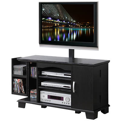 "W. Trends 42"" TV Console with Mount for 50"" Flat-Screen TV and 2 Doors - Black"