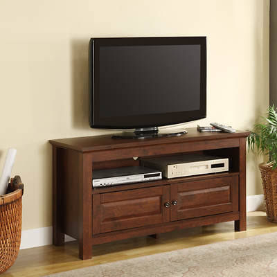 "W. Trends 44"" TV Console with 2 Half Doors - Traditional Brown"