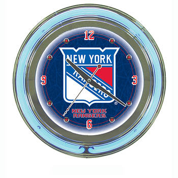 "New York Rangers 14"" 2-Ring Neon Clock"