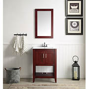 "ANZZI Mosset 24"" Bathroom Vanity with 014 Faucet - Red Cherry"