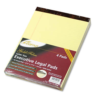 "Ampad Gold Fibre Wide Rule Executive Legal Pads, 8 1/2"" x 11 3/4"", 50 Sheets, 4-Pk - Canary"