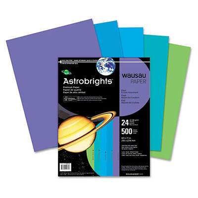 Astrobrights 24-lb. Colored Paper, Letter, 500 Sheets - Cool Assortment
