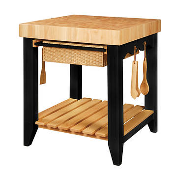 Powell Kitchen Island with Accessory Kit - Natural/Black