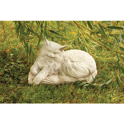 "15"" Fiber Stone Cat Princess on Pillow Garden Statue - Cathedral White"