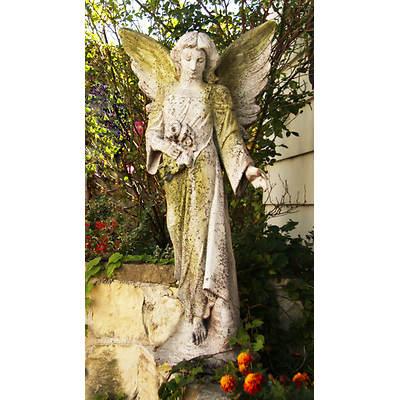 "38"" Fiber Stone Angel Flora Garden Statue - White Moss"