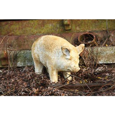 """5"""" Fiber Stone Baby Porker Pig Garden Statue - Pompeii"""