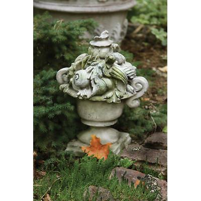 """13"""" Fiber Stone Shell Ocean Urn Garden Finial - White Moss"""