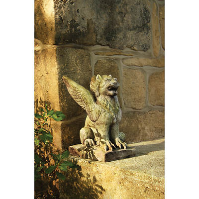 "15"" Fiber Stone Big Mouth Griffin Garden Statue - White Moss"