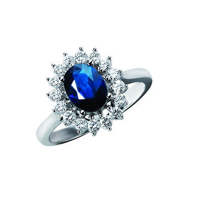 1.60 Carat Blue Sapphire and .50 ct. t.w. Diamond Ring in 14K White Gold