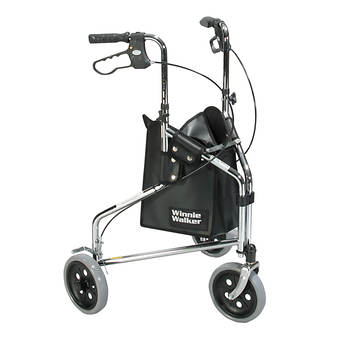 Drive Medical Winnie Walker Deluxe 3-Wheel Rollator - Chrome