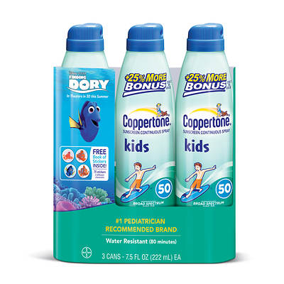 Coppertone Kids Continuous Spray Sunscreen SPF 50, 7.5 Oz., 3-Pk