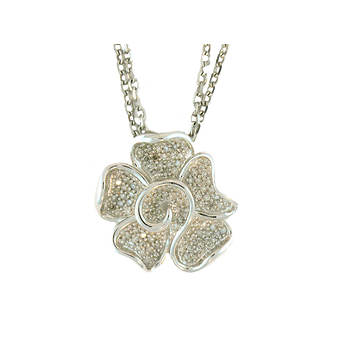 1.00 ct. t.w. Diamond Flower Necklace in Sterling Silver