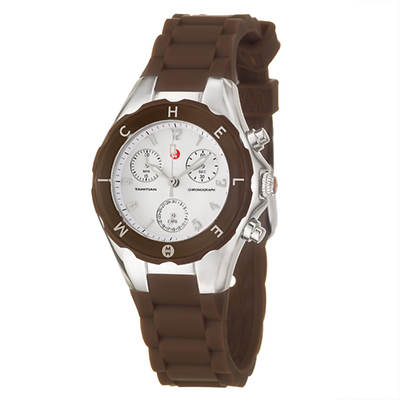 Michele Tahitian Jelly Beans Women's Chronograph Watch with Silicone Strap - Brown