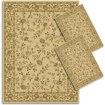 Hampton Kendall Floral Transitional 3-Piece Rug Set - Ivory