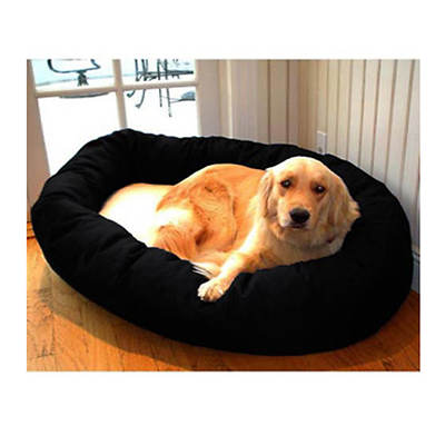 Majestic Pet Products 52 Extra-Large Bagel Bed with Fleece Center - Black