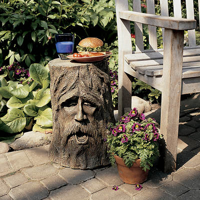 "17 1/2"" Resin Odin Tree Stump Sculptural Table - Wood-Tone"