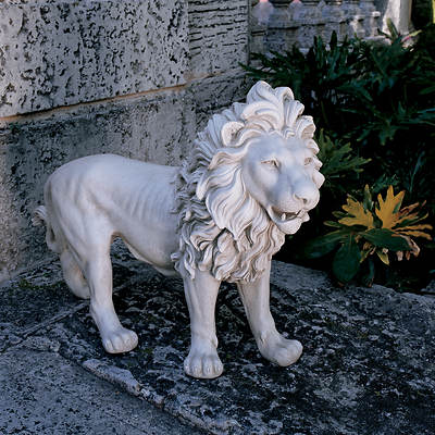 "25 1/2"" Resin Regal Lion Sentinel of Grisham Manor Garden Statue, Left Foot Forward - Antique Stone"