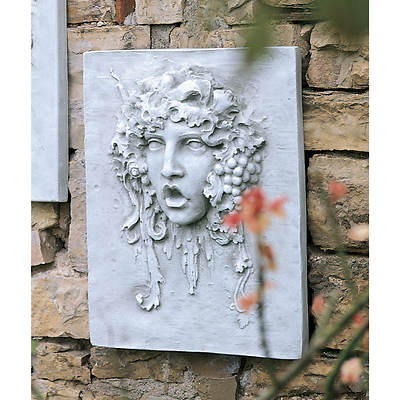 "28 1/2"" Resin Vappa Italian-Style Garden Wall Sculpture - Antique Stone"