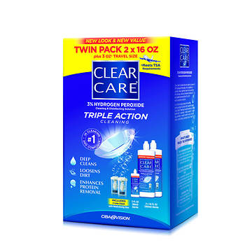 Ciba Vision Clear Care Triple Action Contact Lens Cleaner, 2 pk./16 oz. with Bonus 3 fl. oz. and 2 Lens Cups/Discs