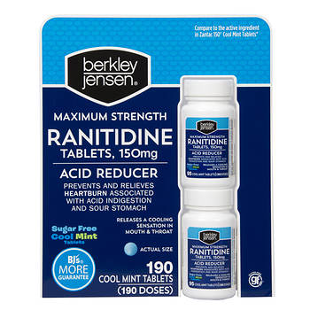 Berkley Jensen Maximum Strength 150mg Acid Reducer Ranitidine Tablets, 190 ct.