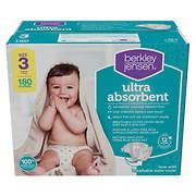 Berkley Jensen Ultra Absorbent Diapers, Size 3, 180 ct.